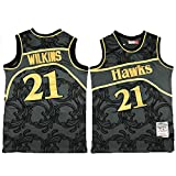 TGSCX Versión Retra Men's Basketball Jersey NBA Atlanta Hawks 21# Dominique Wilkins Cómodo/liviano/Transpirable Malla Bordada Swing Swing Sworing Sworks Camisa de retrot,M