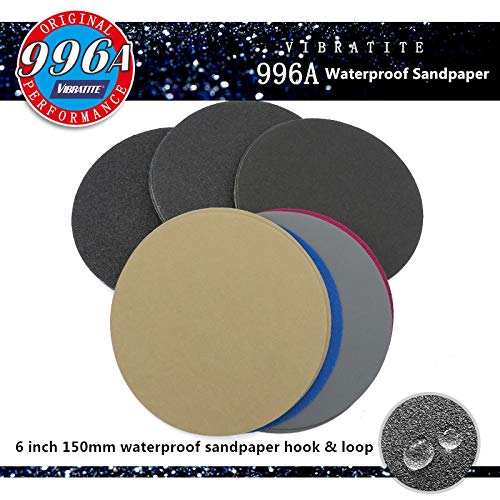Review Xucus 20pcs 6 Inch 150mm Waterproof Sandpaper 60 to 10000 Grit Hook & Loop Silicon Carbide Sa...