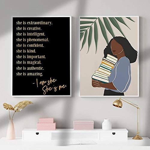 ZLARGEW Black Excellence Golden Quotes Canvas Poster Wall Art Print Mujer Africana Pintura Cuadro Decorativo...