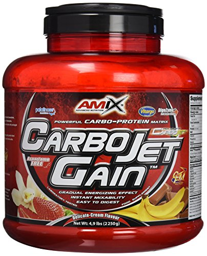 AMIX - Proteína en Polvo Carbojet Gain - Suplemento con Hidratos de Carbono de Alta Calidad -Proteína para Ganar Masa Muscular - Ideal para Atletas de Élite - Sabor Chocolate - 2,25 KG