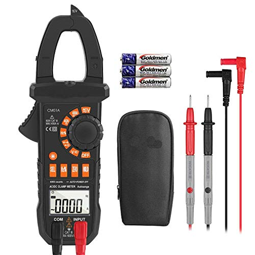 Clamp Meter Amp meter Digital Multimeter 4000 Counts with NCV Auto-Ranging Testing AC/DC Current&Voltage, Continuity Electrical Tester, Diode, Resistance, Capacitance, Frequency- Tacklife