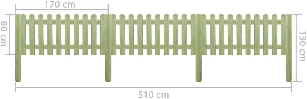 vidaXL Kiefer Impr/ägniert Lattenzaun 110cm Holz Zaun Gartenzaun Friesenzaun