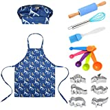ZHYCLKE Kids Cooking and Baking Kits Girls Boys Apron Chef Hat Utensils Set Dress up Costume Role Play for 5-12 Years Children