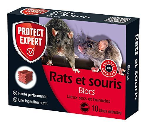 PROTECT EXPERT FB300 Rats & Souris   10 Blocs extrudés pour lieux secs et humides, 300 GR