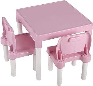 Aynefy - Conjunto de mesa y sillas infantiles de plástico, mesa de estudio de plástico para guardería, mesa de estudio multifuncional para bebé, 1 mesa + 2 sillas (rosa)