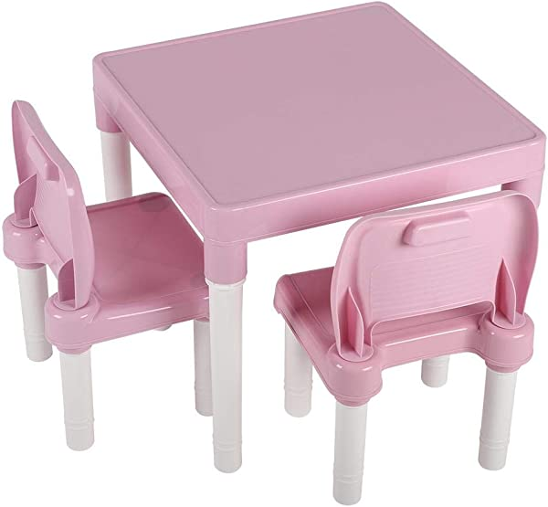 Yosooo Kids Plastic Table Set Table And 2 Chairs Set Activity Table Chair Set Kids Furniture Set Children S Table And Chair Set Portable Lightweight Activity Learning Table Pink