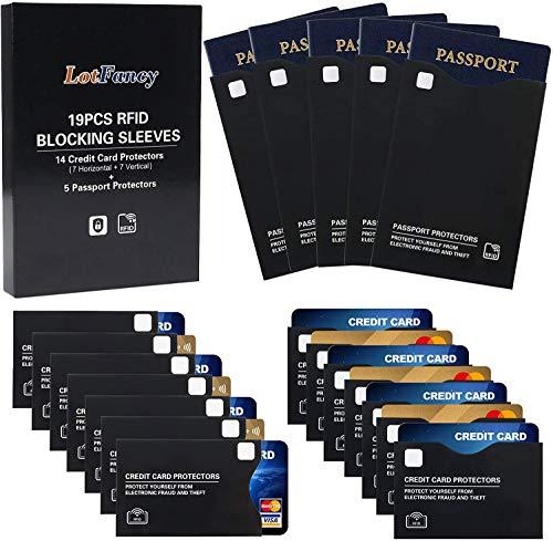LotFancy RFID & NFC Schutzhülle gegen datenklau 19 Stück (14 für Kreditkarten + 5 für Reisepass) Ausleseschutz für Kreditkarte, Personalausweis EC-Karte Reisepass Bankkarte, Schwarz