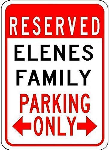 DKISEE Home House Coffee Beer Drink Bar Decorin, Elenes Family Parking - Vintage Man Cave Garage Sign Bar Sign Metal Wall Tin Sign Wall Art Symbol Pointer Decal Metal Signs 8x12 inch