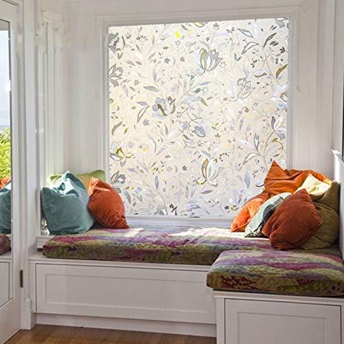 N / A 3D laser tulip decoration privacy film window sticker electrostatic glass film glue-free frosted bathroom bedroom home decoration film A7630x100cm