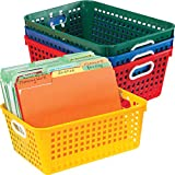Really Good Stuff Plastic Storage Baskets for Classroom or Home Use – Stackable Mesh Plastic Baskets with Grip Handles – Assorted Primary Colors – 13' x 10' (Set of 4)