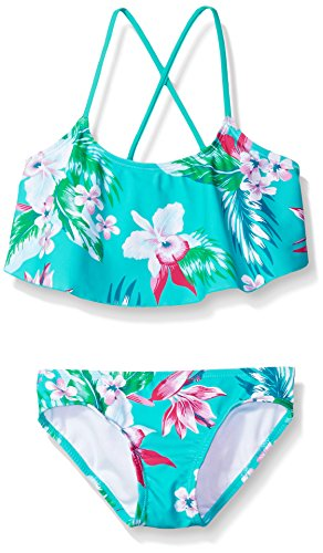 Kanu Surf Girls' Big Flounce Bikini Beach Sport 2 Piece Swimsuit, Alania Floral Green, 8