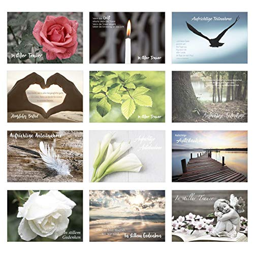 Edition Seidel Set 12 einfühlsame Premium-Trauerkarten/Beileidskarten mit Umschlag. Trauerkarte Beileidskarte mit Spruch (Doppelkarten/Klappkarten mit Briefumschlag)
