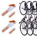 2 Pack Foldable Vertical Bike Rack Wall Mounted Bicycle Cycle Storage Rack Single Bike Hook Wall Bike Hanger Holder w/Tire Tray for Garage Shed Retail Applications Road Bike (Orange&White)