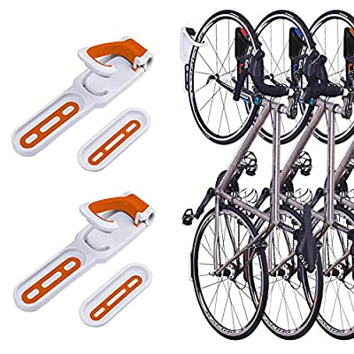 2 Pack Foldable Vertical Bike Rack Wall Mounted Bicycle Cycle Storage Rack Single Bike Hook Wall Bike Hanger Holder w/Tire Tray for Garage Shed Retail Applications Road Bike (Orange&White)