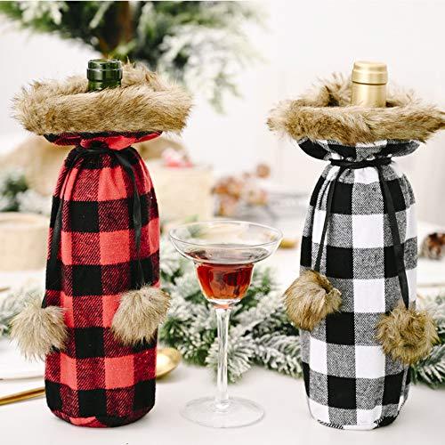 Weihnachten Kunstpelz Weinflasche Abdeckung, Buffalo Plaid Weihnachten Dekorationen Champagner Flasche Abdeckung Weißwein Tasche für Urlaub Weihnachten Dinner Party Ornament