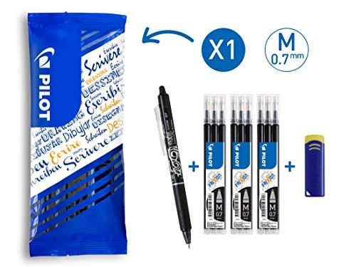 PILOT FriXion Clicker, radierbarer Tintenroller (Schwarz) + 9 Ersatzminen + FriXion Radierer