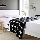 EsyDream Knitting Blanket Jacquard Soft Sofa Cover Baby Throw Blanket Warm,Black & White Cross Design,43x50inch (110x130cm)