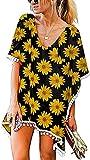 LYDIANZI Mujeres Verano Traje De Baño Cubierta Camisa Floral Gráfico Baño Traje Vestido Volante Mangas Irregular Dobladillo Playa Falda(Size:Grande,Color:Negro)