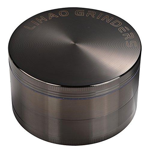 """LIHAO Pollen Grinder 3\"""" Groß 75mm Crusher für Spice,Kräuter,Gewürze,Kaffee,Herb 4-teiliges Set mit Schaber (Nickel-Schwarz)"""