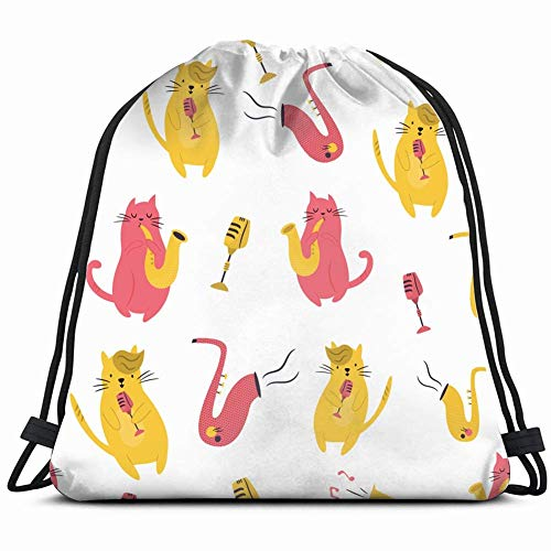 JIMSTRES bright funny cats playing animals wildlife adorable Drawstring Backpack Gym Sack Lightweight Bag Water Resistant Gym Backpack for Women&Men for Sports,Travelling,Hiking,Camping,Shopping Yoga