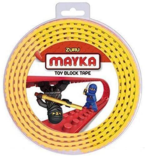Mayka 34656 - Klebeband für Lego Bausteine, 2 m selbstklebendes Band mit 4 Noppen, gelbes Bausteinband, flexibles Noppenband zum Bauen mit Legosteinen für Kinder ab 3 Jahre, wiederverwendbar