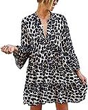 ORANDESIGNE Damen Tunika Kleid mit Leopard Muster Party-Kleid oder Freizeit-Minikleid Schwarz L