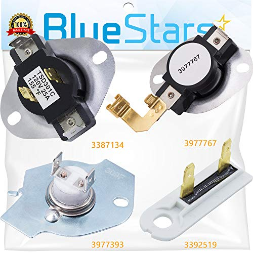 3387134 Cycling Thermostat 3392519 Dryer Thermal Fuse 3977393 Thermal Cut-Off Switch 3977767 High-Limit Thermostat Dryer Repair Kit by Blue Stars - Exact Fit for Whirlpool Kenmore Maytag Dryers