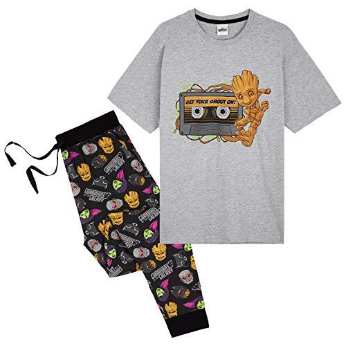 Marvel Herren-Pyjama-Set, Guardians of the Galaxy, Pyjamas für Männer mit Groot, 2-teiliges Pyjama-Set mit kurzen Ärmeln und Lounge-Hose, Geschenke für Männer und Jugendliche Gr. M, mehrfarbig