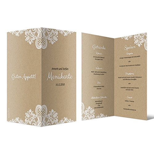 10 x Hochzeit Menükarten Menü Speisen Getränke - Rustikal Kraftpapier Look DIN Lang Klappkarte