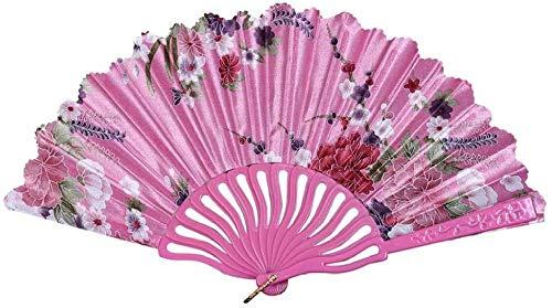 Opvouwbare ventilator,klassieke draagbare chinese stijl dans bruiloft kant zijde helder roze vouwen hand held bloem ventilator woondecoratie vintage chinese fans wind