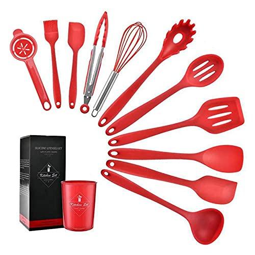 Fontsime 10個シリコンキッチン用品焦げ付き防止調理器具調理器具スパチュラレードルエッグビーターシャベルスプーンスープキッチン用品セット赤