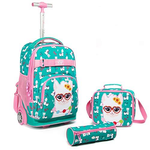 Kinder Rucksack mit Rädern, 3 in 1 Schulranzen Trolley Set Schultasche mit Mittagessen Umhängetasche Bleistiftetui Multifunktions Trolley Rucksack für Teenager Jungen Mädchen