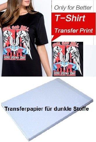 T-shirts eenvoudig zelf bedrukken: 20 vellen textiel-transferpapier voor het opstrijken van afdrukken op donkere T-shirts, DIN A4 / voor bijna alle inkjetprinters