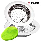 2 Pieces Kitchen Sink Strainer Baskets by EZColoris, with Silica Cleaning Pad...
