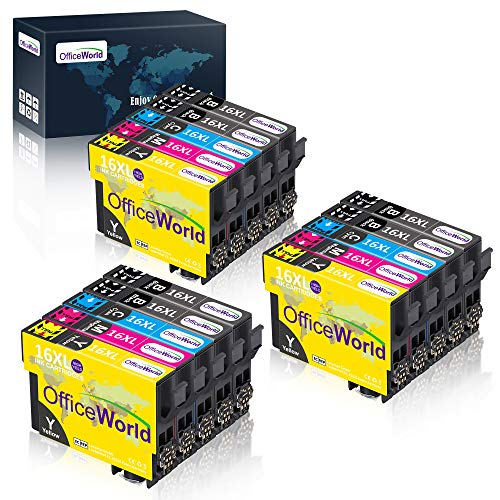 OfficeWorld – Cartuchos de tinta para Epson 16 16XL compatibles con Epson Workforce WF-2750 WF-2760 WF-2010 WF-2630 WF-2510 WF-2520 WF-2660 WF-2540 WF-2650 WF-2530 (15 unidades)