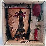 Vianaya – Tazza Paris Tour Eiffel e altri monumenti di Parigi – motivo fiocco rosso, misura media 10,5 cm con cucchiaio, effetto satinato