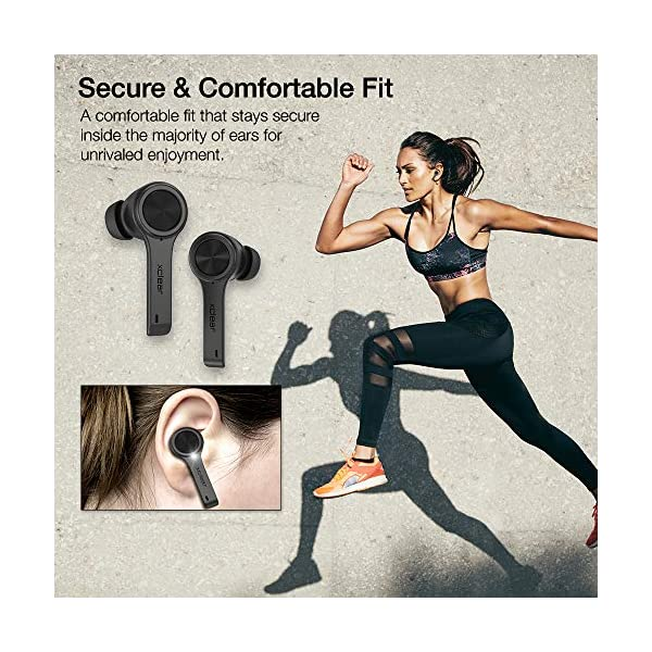 XClear Wireless Earbuds with Immersive Sounds True 5.0 Bluetooth in-Ear Headphones with Charging Case/Quick-Pairing Stereo Calls/Built-in Microphones/IPX5 Sweatproof/Pumping Bass for Sports Black 5