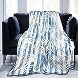 985 Manta para Cama Sofa Hojas De Palmera En Líneas De Pintura Franela Manta De Microfibra Reversible Manta De Felpa Suave Microfibre Manta De Frio para Hombre Mujer 150x200cm