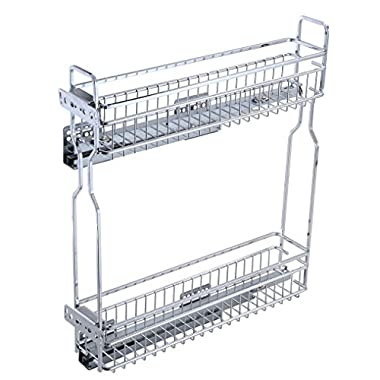 1life Narrow Sliding Cabinet Organizer Pull Out Two Tier Shelf (4.3  W x 17.7  D x 20.5  H)
