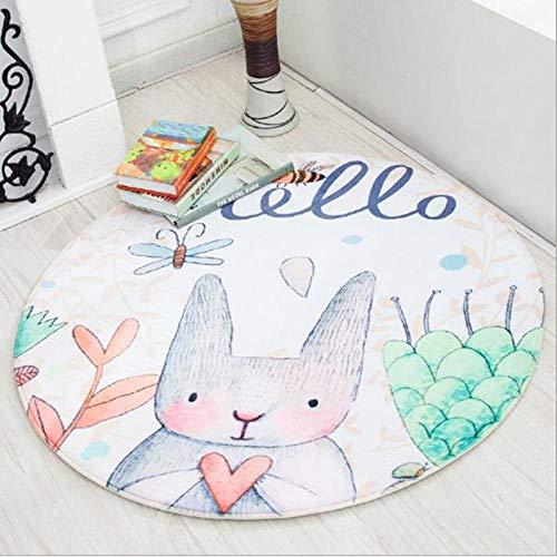 QLIYT Teppiche Kaninchen Kinderzimmer Teppich Rund Fuchs Babyspielmatte Home Decor Patchwork Picknickdecke Tapetes Kind Teppich-2_80Cm_Durchmesser
