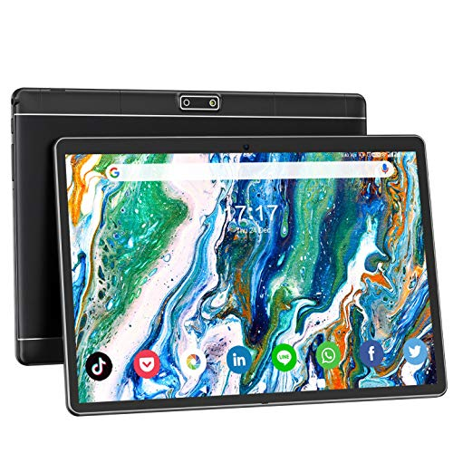 Tablet 10 Zoll Android 9.0 3G Telefon Tablets Quad Core 32GB ROM 2GB RAM mit Dual SIM Karte für Telefonanrufe 1280p IPS HD Touch Display 5MP + 2MP Zwei Kameras WiFi Bluetooth GPS OTG FM【Schwarz】