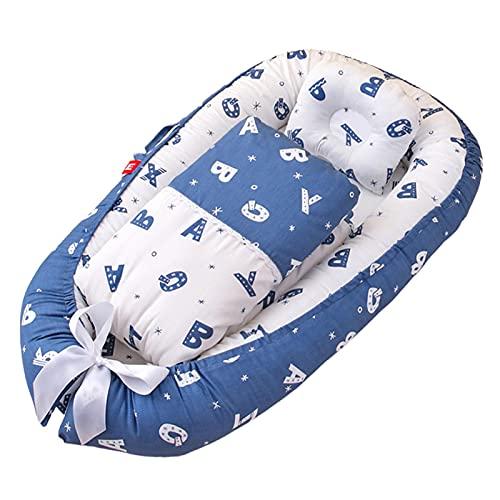 Cama Tumbona Para Bebé, Suave Algodón Recién Nacido Nido Para Dormir Cuna Portátil Para Bebé Con Almohada Y Edredón Para 0-24 Meses Unisex Viajes Y Siestas Para Bebés, B