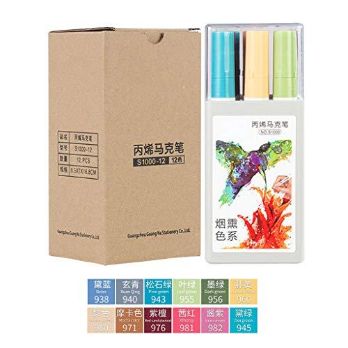 Sayletre 12 Farben Acrylfarbe Art Marker Pen für DIY Graffiti-Glas Keramik-Kunst-Malerei Zeichnung Papier- und Schreibwaren