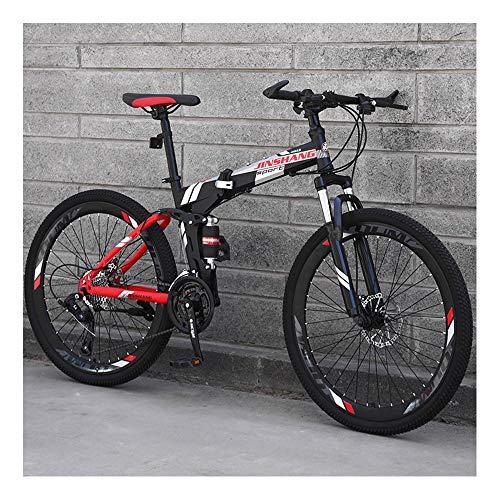 YCHBOS Plegable Bicicleta de Montaña Doble Suspensión de 24/26 Pulgadas, MTB Bici Montaña para Adultos de 27 Shifter Velocidad, Frenos de Disco, Marco de Acero de Alto CarbonoB-24 Inch