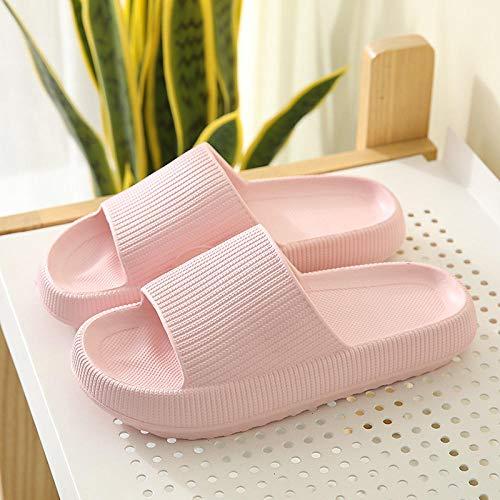 JFHZC Zapatillas Antideslizantes,Zapatillas de casa Impermeables de Suela Gruesa Altamente elásticas, Zapatillas de Ducha súper Suaves y de Secado rápido para Hombres y Mujeres-Pink_38-39