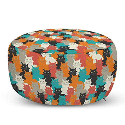 Ambesonne Kittens Pouf Cover with Zipper, Funny and Colorful Cats Messy Furry and Fluffy Whiskers Purr Cheerful Print, Soft Decorative Fabric Unstuffed Case, 30' W X 17.3' L, Multicolor