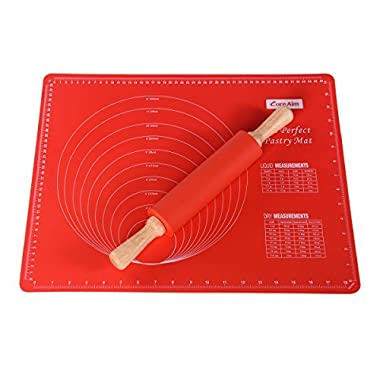 Core Aim Silicone Baking Mats with Measurements, Pastry Mat, Cookie Sheet Non-stick for Rolling Dough and Fandant with 1pc Silicone Rolling Pin, FDA approved,Red