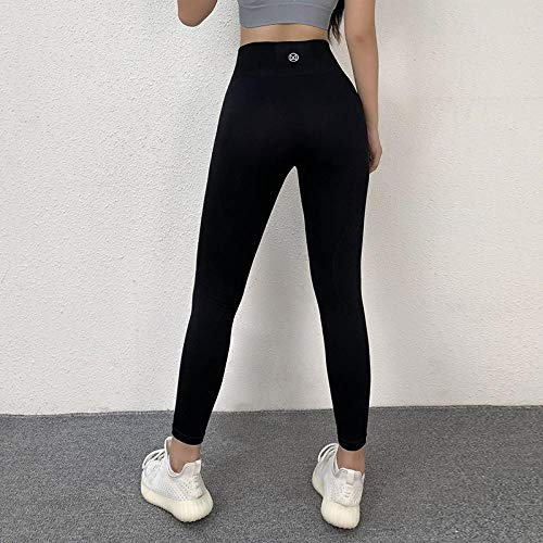 Leggings A Vita Alta da Palestra Push-Up Leggings Solidi Senza Cuciture Sport Pantaloni da Fitness da Donna Elasticità Leggings Slim S Neroleggings