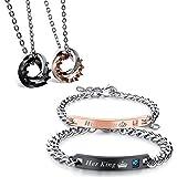 Flongo Couple Colliers & Bracelets pour Femme Homme, Collier