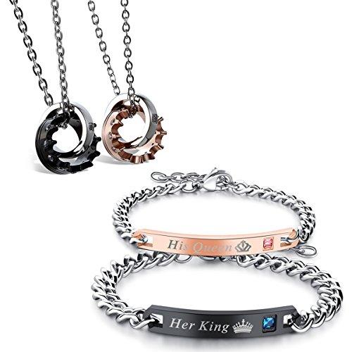 Flongo Pärchen Armband Halskette Set, Edelstahl Armband Armkette Partnerarmbänder Anhänger Halskette mit Her King, His Queen Gravur Krone Ring Partnerketten